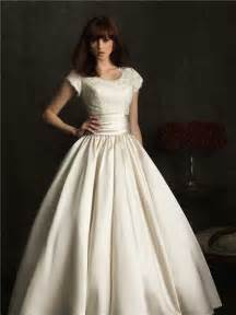 modest wedding gowns modest gown scoop neck cap sleeve lace satin ruched wedding dress with buttons