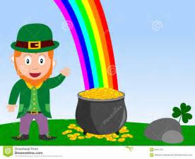 Leprechaun with Rainbow and Pot of Gold