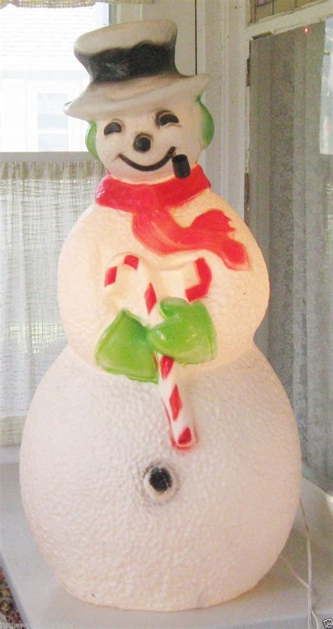 vintage christmas frosty  snowman blow mold light union