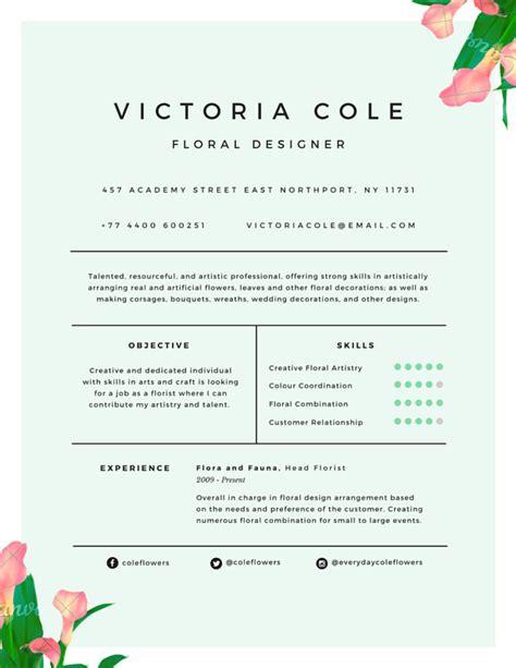 Floral Designer Resume by Charming Floral Designer Resume Canva College