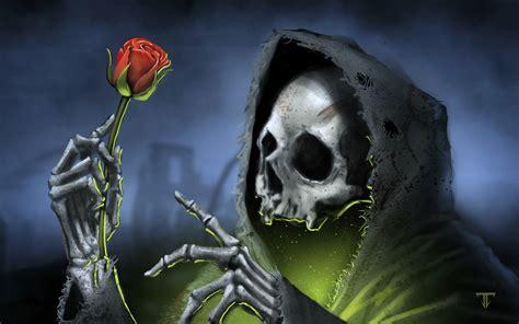 wallpaper death rose red digital art grim reaper