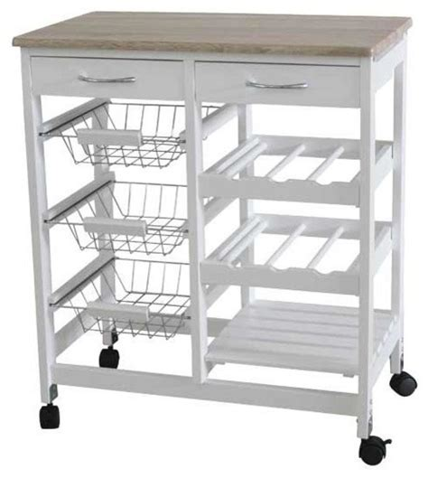 Kitchen Trolley with 2 Drawers and Baskets   Farmhouse