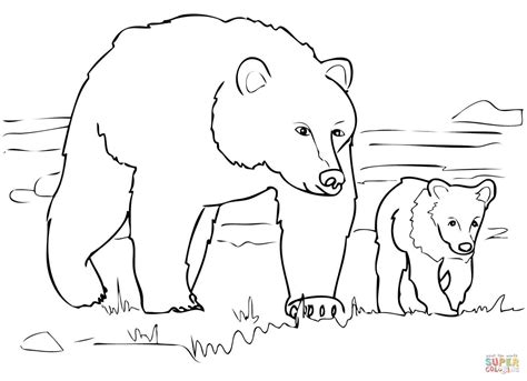 grizzly bear family coloring page  printable