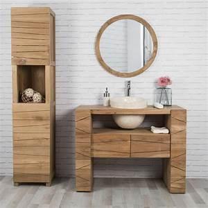 meuble sous vasque simple vasque en bois teck massif With meuble de salle de bain 110 cm