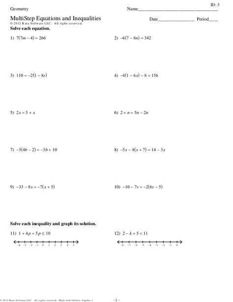 solving multi step equations worksheet answers free