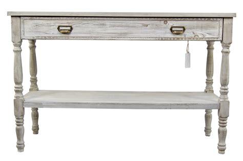 Meuble Console Drapier Bois Ceruse Blanc 1 Tiroir 120x45x77cm