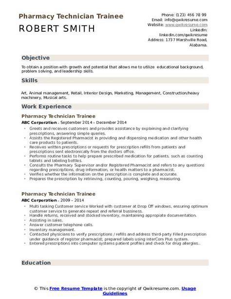 pharmacy technician trainee resume samples qwikresume