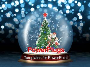 PowerPoint Template: a small globe with a Christmas tree ...
