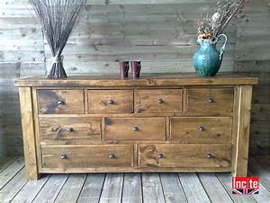 Plank Pine Long Boy Chest of Drawers Handmade by Incite