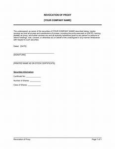 Proxy revocation template sample form biztreecom for Proxy letter template