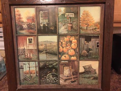 Vintage Homco Home Interior Interiors Window Pane Picture Fall Scenes B Mitchell