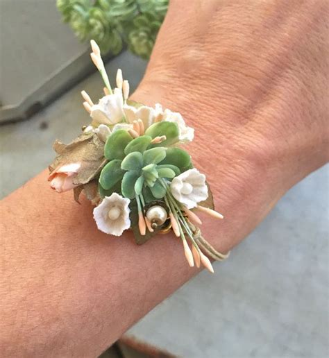 succulent corsage bracelet wedding flower bracelet prom