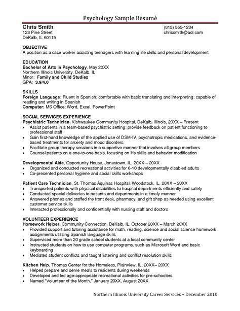 Resume Psychology Major by Exles Of Resumes Resume Exle Beginner Acting