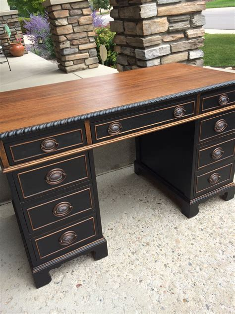 two desks two tone wood and black vintage desk solid wood and usa