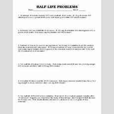 Halflife Problems 9th  12th Grade Worksheet  Lesson Planet