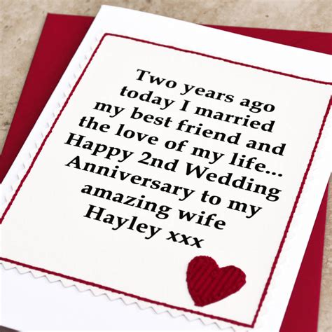 2nd wedding anniversary gift personalised 2nd wedding anniversary card by jenny arnott cards gifts notonthehighstreet com