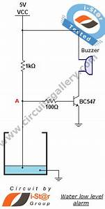 Low Water Level Indicator Alarm Circuit For Water Tank