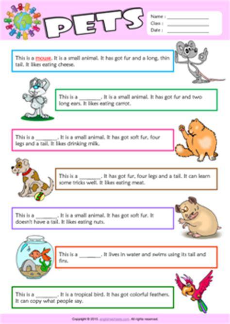 pets esl printable worksheets  kids