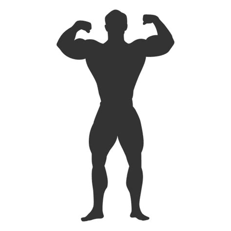 Bodybuilder double biceps pose silhouette - Transparent