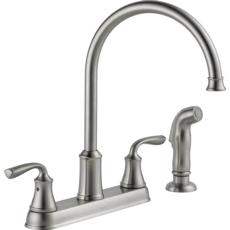 2 kitchen faucet shop delta lorain stainless 2 handle deck mount high arc kitchen faucet at lowes com