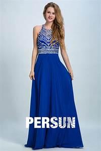 Haut Habillé Pour Soirée : robe de c r monie bleue haut strass e dos d coupe ~ Melissatoandfro.com Idées de Décoration