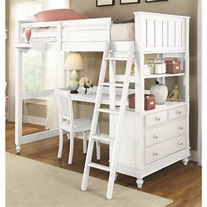 Ne, Kids, Lake, House, Twin, Loft, Bed, With, Desk, In, White