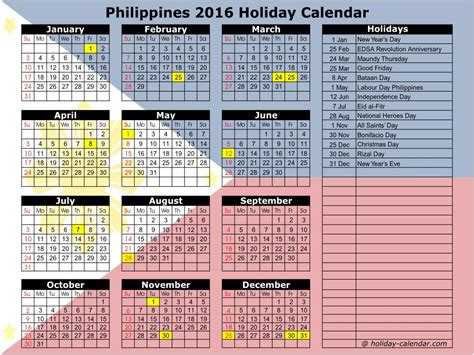 philippines   holiday calendar