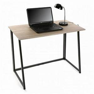 Petit Bureau Noir : table de bureau pliante bois metal noir versa ~ Teatrodelosmanantiales.com Idées de Décoration