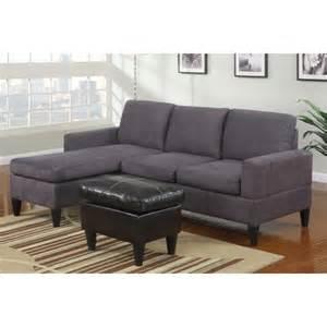 poundex 3 pc grey microfiber apartment size sectional sofa