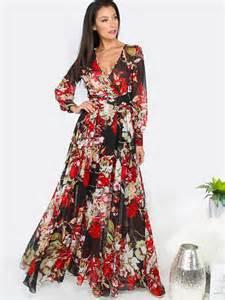 Floral Long Sleeve Maxi Dress BLACK   MakeMeChic.COM