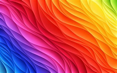 Download wallpapers 4k 3D abstract waves rainbow