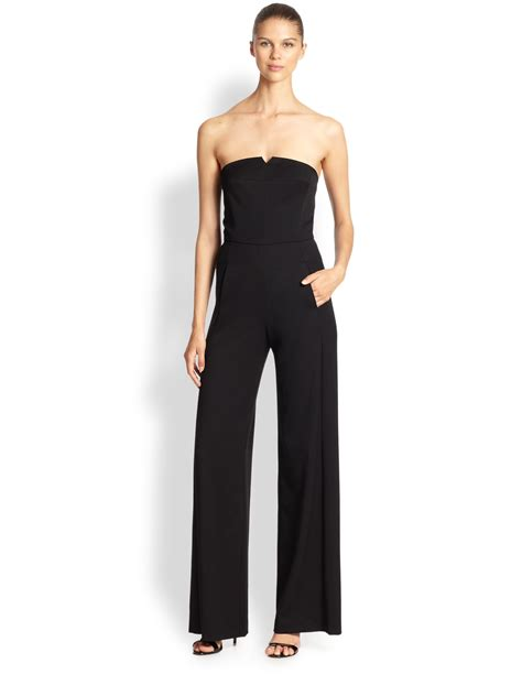 strapless jumpsuit black halo gabardine strapless jumpsuit in black lyst