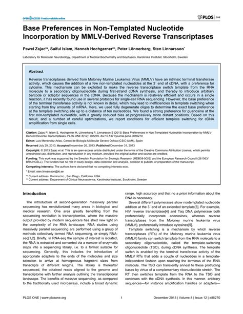 (PDF) Base Preferences in Non-Templated Nucleotide ...