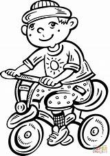 Bike Riding Boy Coloring Clip Clipart Ride Pages Kid Boys Cartoon Vector Drawing Children Printable Graphics sketch template
