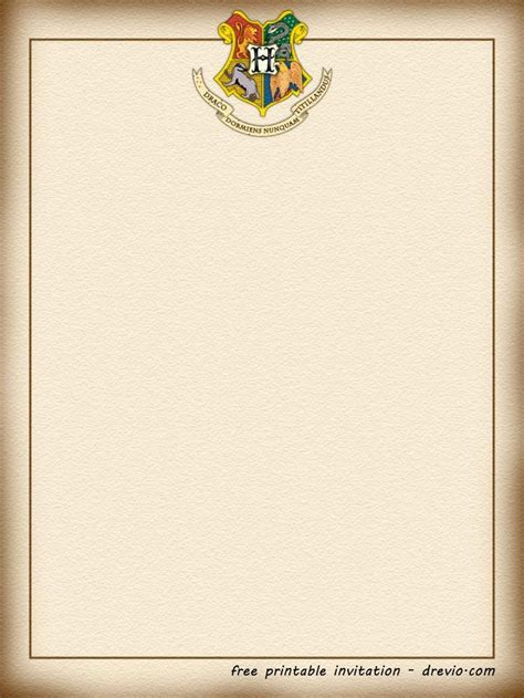printable harry potter hogwarts invitation template
