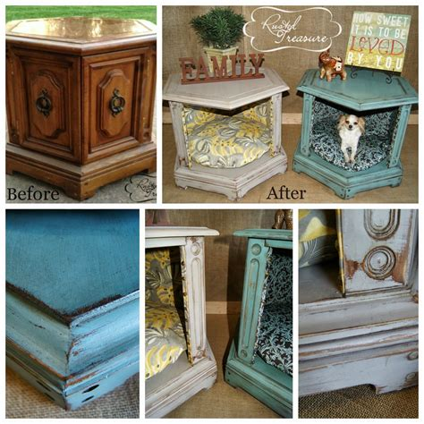 Repurposed and refinished end table dog beds | DIY Home ...