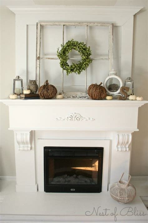 fall autumn fireplace mantel the window pane wrapped