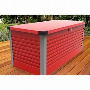 Coffre En Métal : coffre de jardin en m tal rouge 750l patio box 1 06m trimetals ~ Teatrodelosmanantiales.com Idées de Décoration