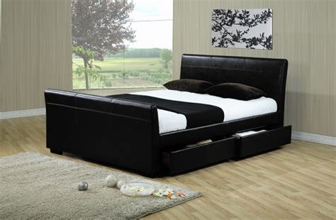 time living houston ft kingsize black faux leather bed