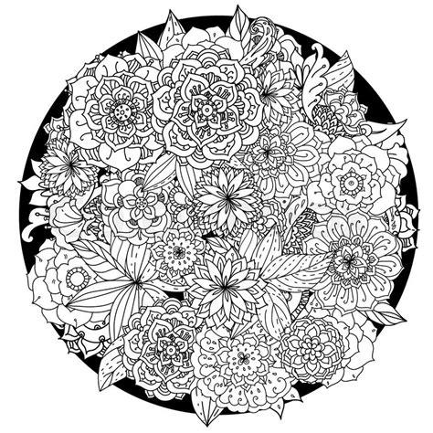circle floral ornament hand drawn art stock photo
