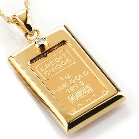 1 Gram Gold Ingot & Diamond Necklace 15594