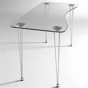 Mesa de cristal biselado LMARIES y estructura cromada para interior
