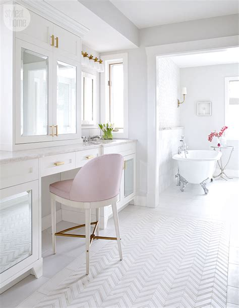 feminine glamorous pink  white bathroom