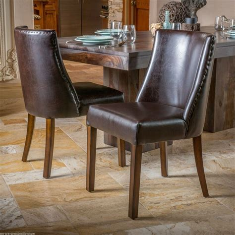 Leather Dining Armchair by Set Of 2 Dining Room Furniture Brown Leather Dining