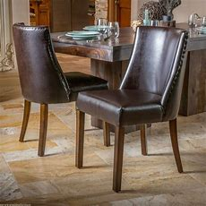 (set Of 2) Dining Room Furniture Brown Leather Dining