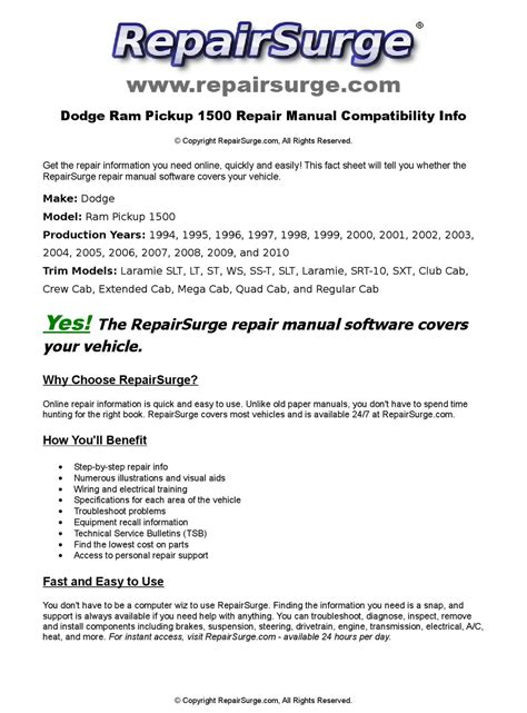 online car repair manuals free 1994 dodge ram 3500 lane departure warning dodge ram pickup 1500 online repair manual for 1994 1995 1996 1997 1998 1999 2000 2001