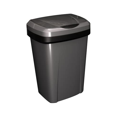 lowes kitchen trash cans shop hefty 13 gallon silver with black trim indoor garbage