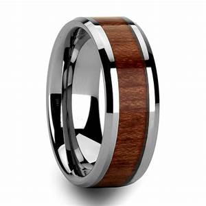mens tungsten ring w rosewood inlay wedding band size 6 With rosewood wedding rings