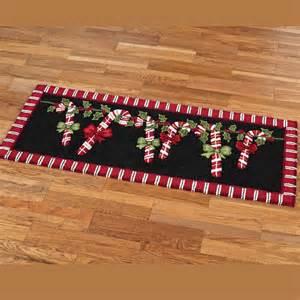 candy cane garland holiday rug runner