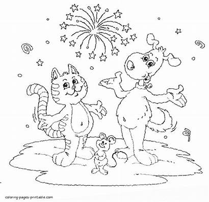 Coloring Cat Dog Pages Mouse Animals Printable